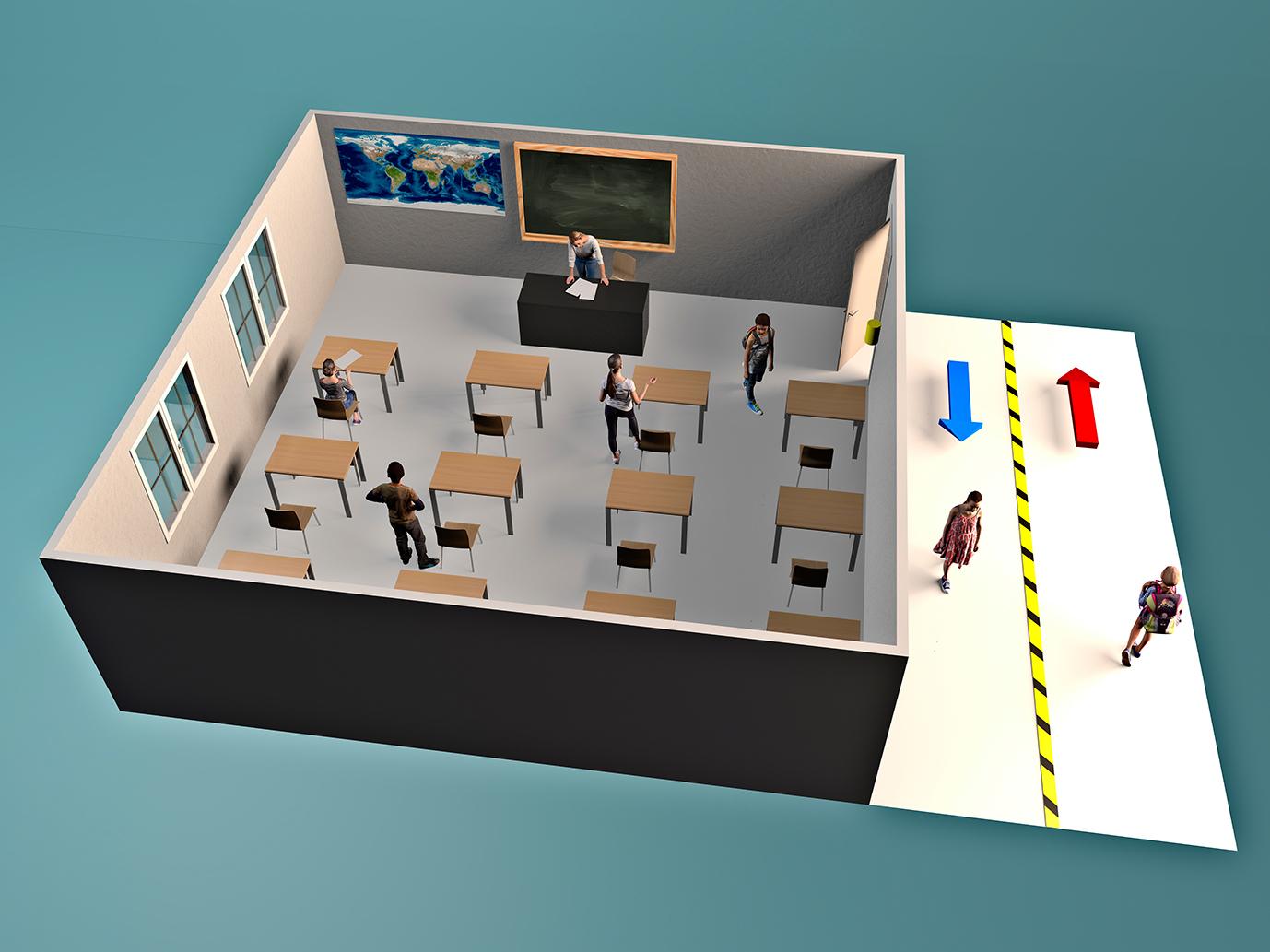Socially distant classroom design plan