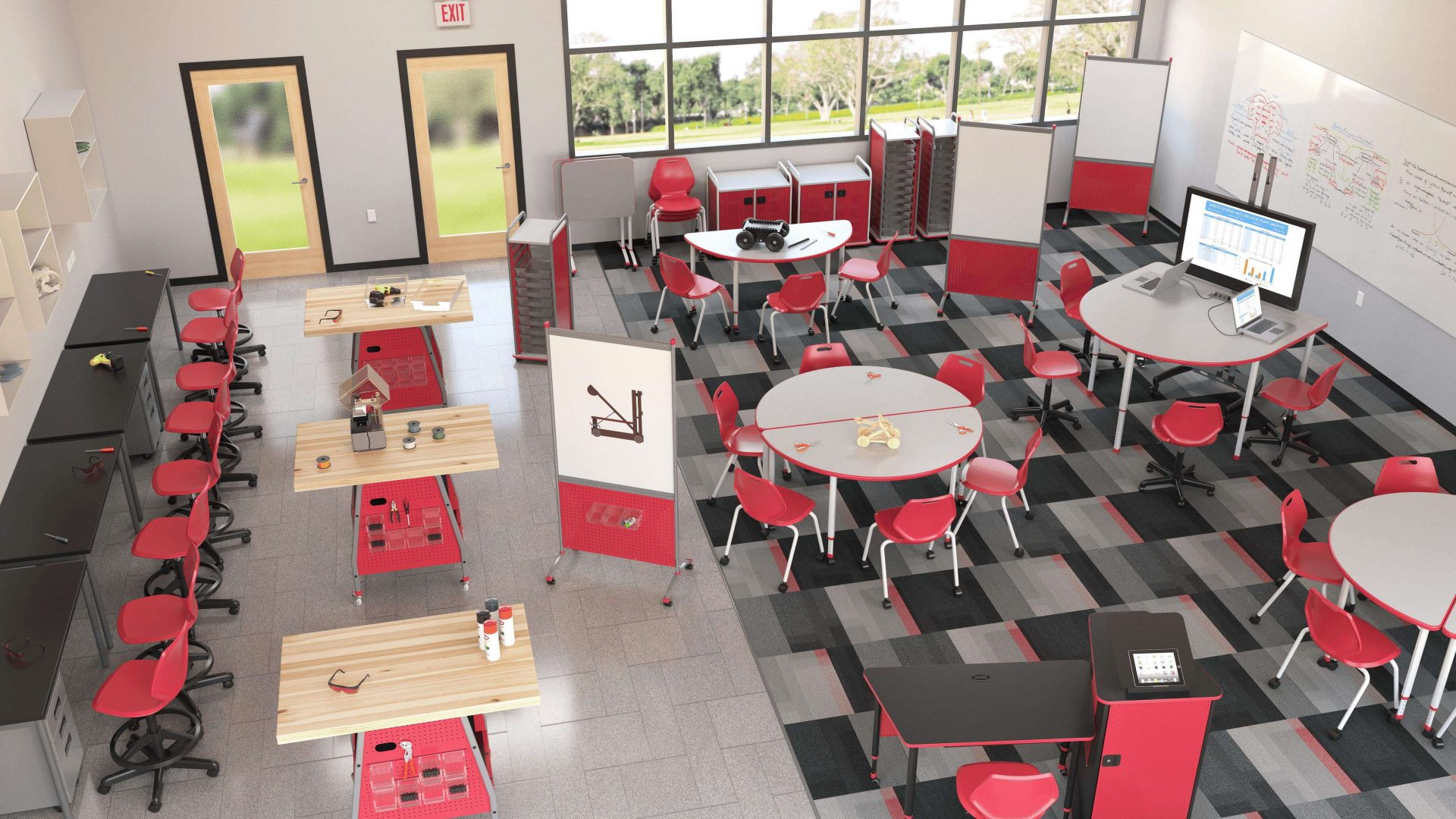 Birds-eye view 3D rendering of classroom with red collaborative school desks and chairs