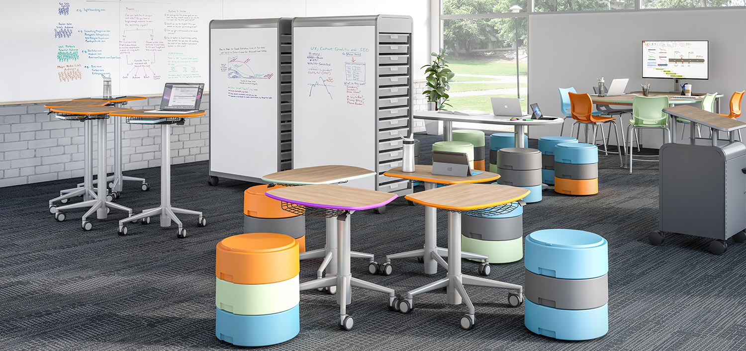 Classroom with collaborative desks on wheels, stacking stools and storage units