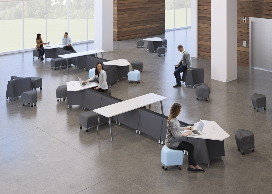 Modern collaborative desks in open space