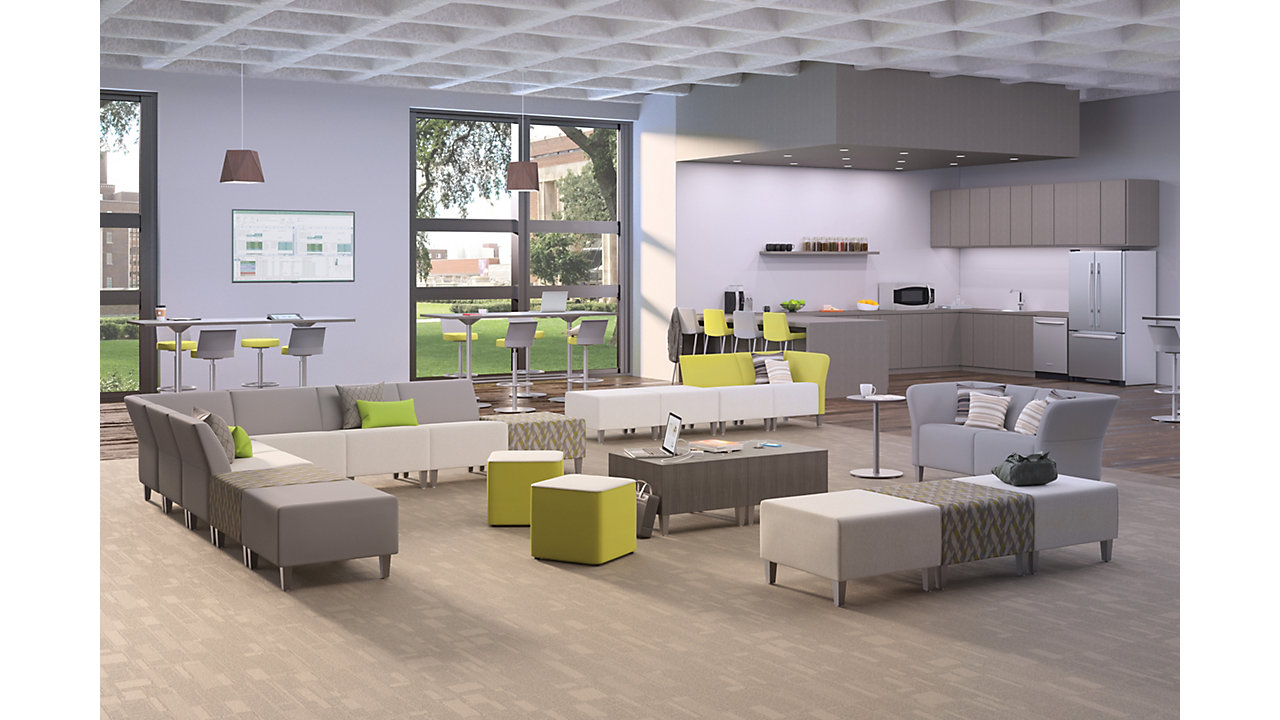 Workplace with office lounge furniture