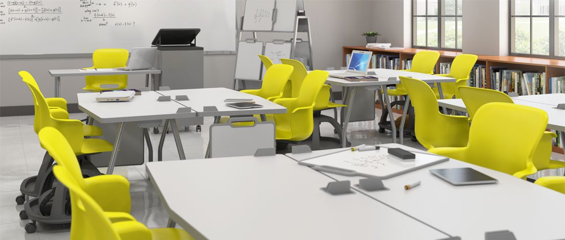 Modern classroom with portable chairs and mobile desks
