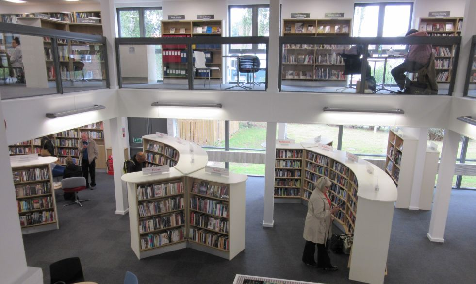 Circular library bookshelves