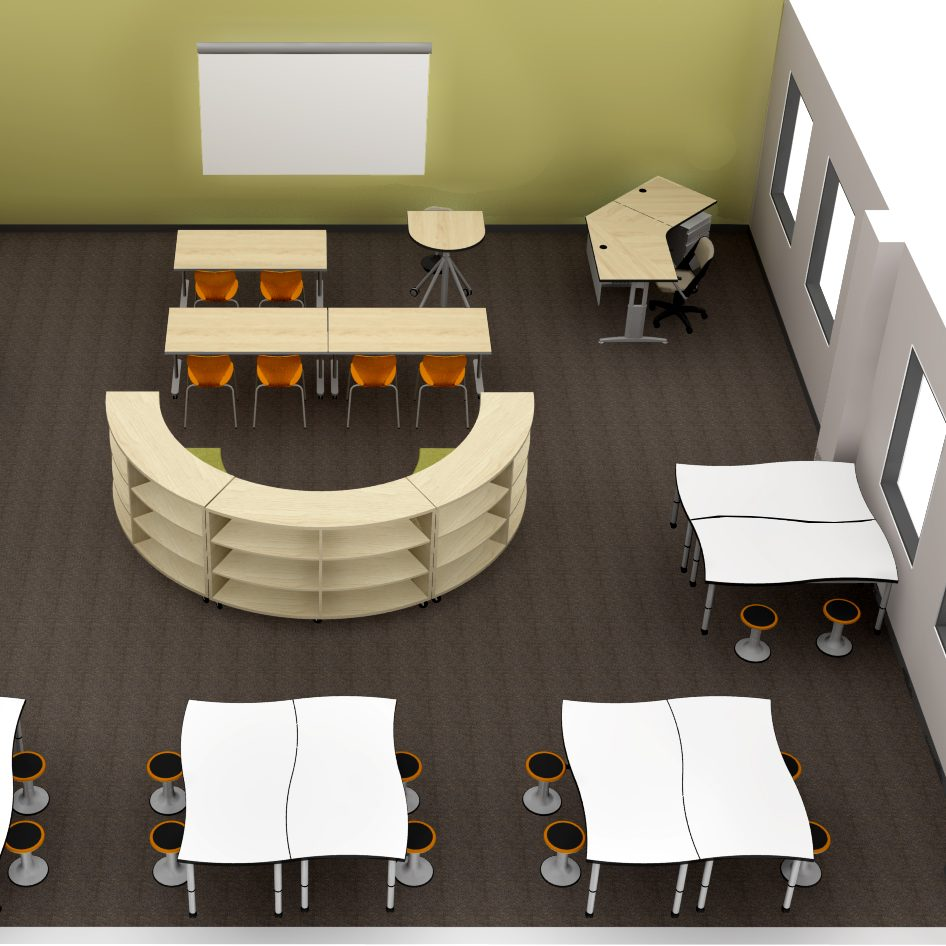 Birds-eye view 3D rendering of collaborative classroom