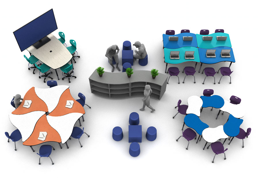 Birds-eye view 3D rendering of collaborative classroom furniture