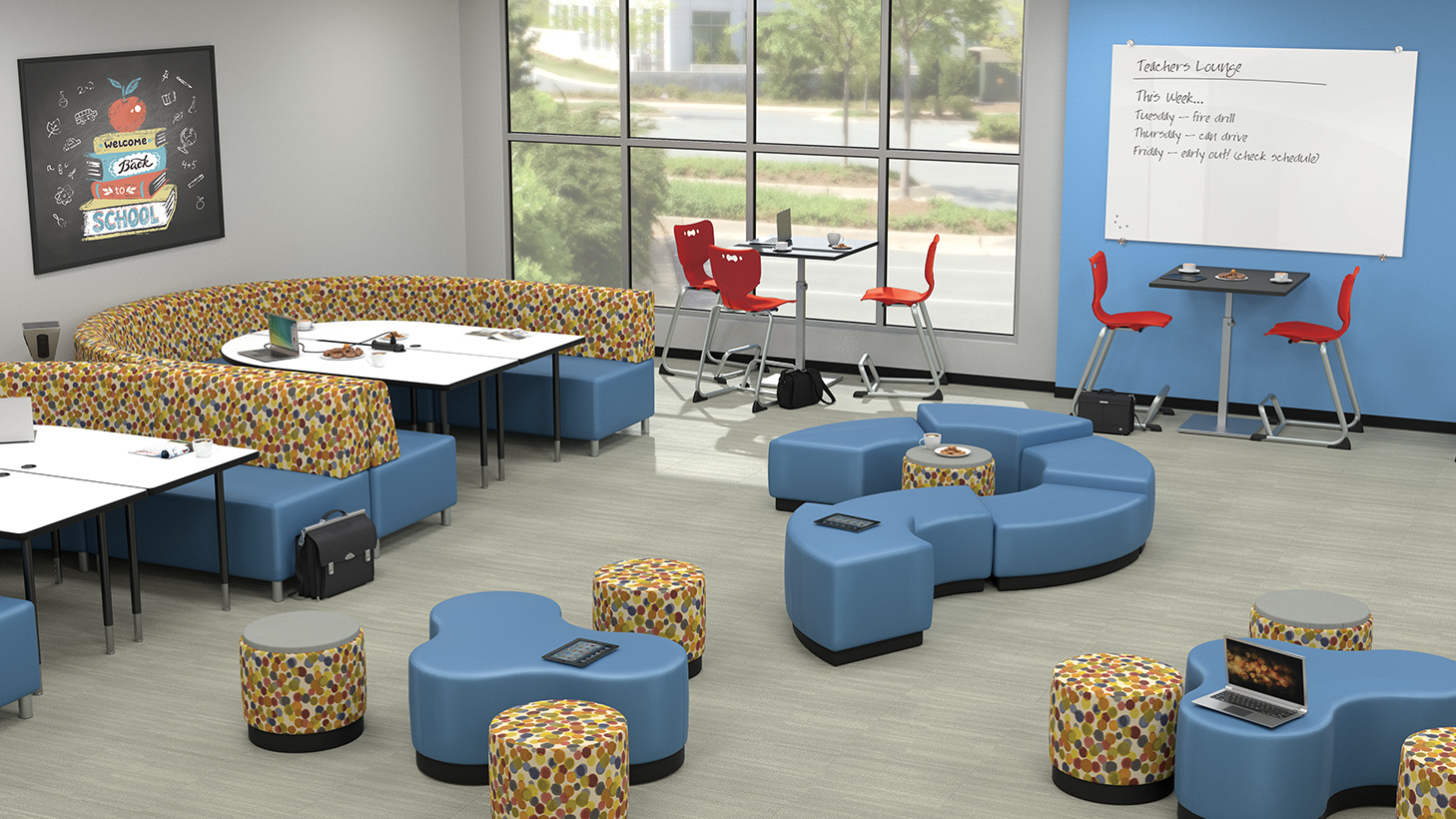 Study room with collaborative ottoman benches, high-top tables and chairs and bench seating