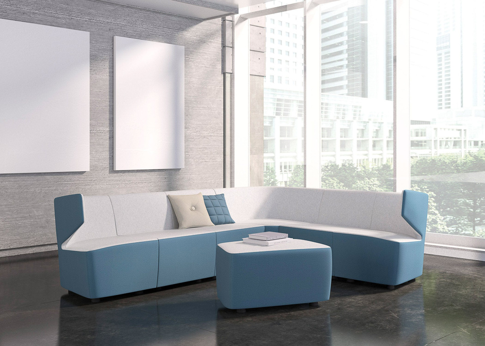 Long lounge couch and matching table in sleek room