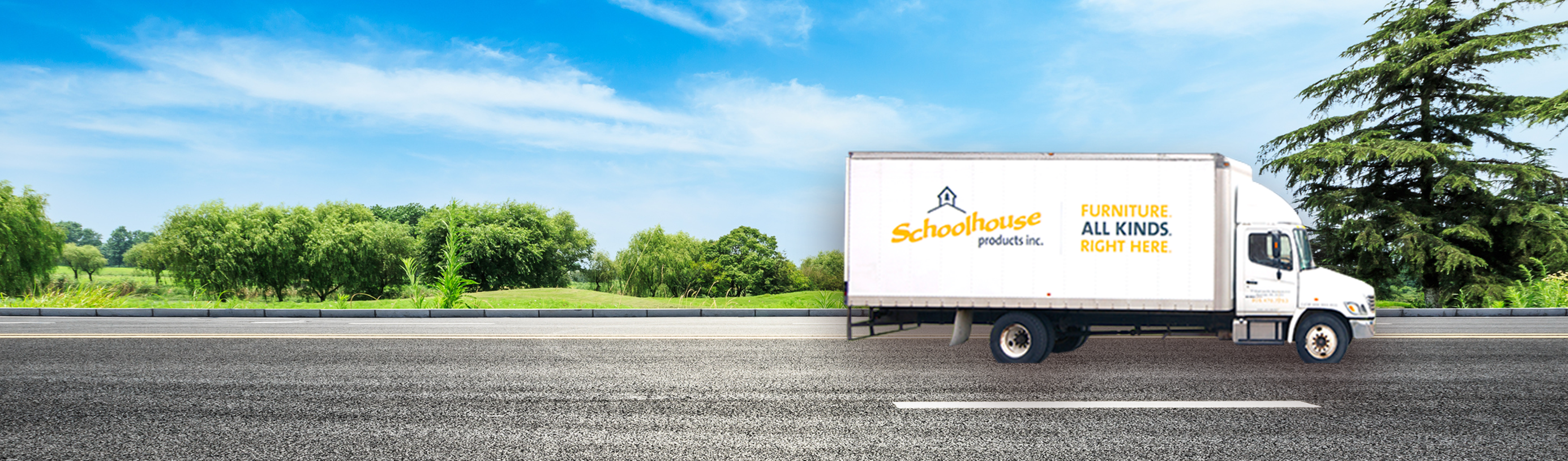 Schoolhouse Products delivery truck photoshopped onto road next to green trees