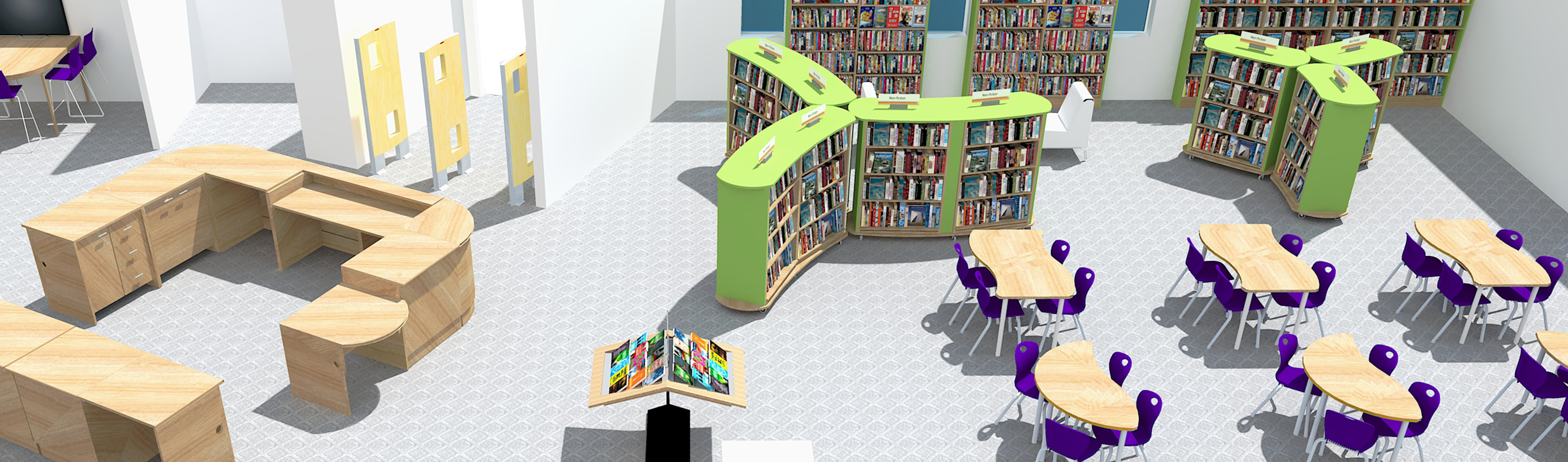 3D rendering of library with collaborative desks, desk chairs and bookshelves