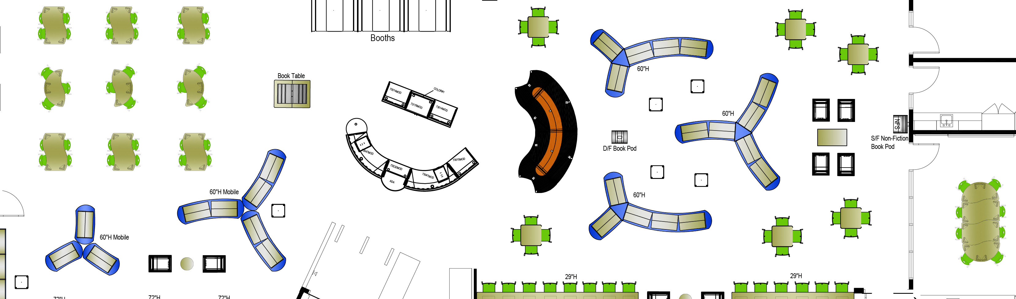 Birds-eye view 2D rendering of collaborative classroom