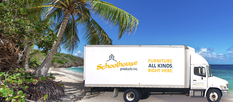 Schoolhouse Products Inc delivery truck on beach